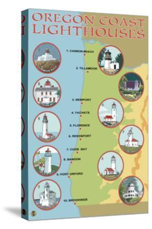 Oregon Coast, View of the Coastal Lighthouses-Lantern Press-Stretched Canvas Print