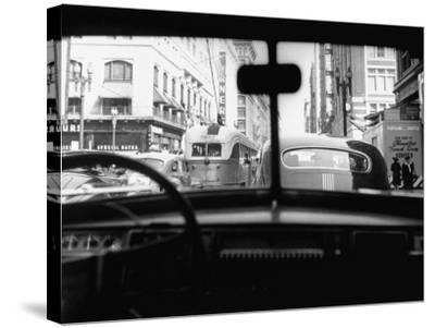 Traveling Through Rush Hour Traffic in Downtown Los Angeles-Loomis Dean-Stretched Canvas Print