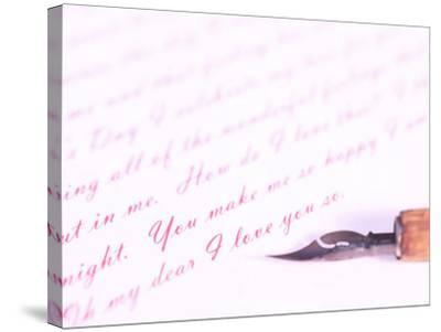 Old-Fashioned Fountain Pen Lying on Love Letter--Stretched Canvas Print