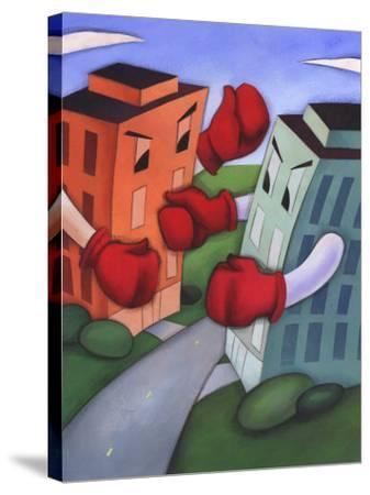 Angry Buildings Boxing Each Other across Street--Stretched Canvas Print