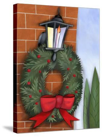 Christmas Wreath on Brick Wall--Stretched Canvas Print
