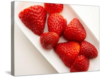 Delicious Fresh Strawberries in Dish--Stretched Canvas Print
