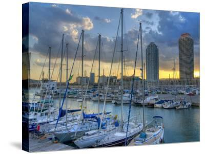 Port Olimpic, Barcelona, Spain-Alan Copson-Stretched Canvas Print