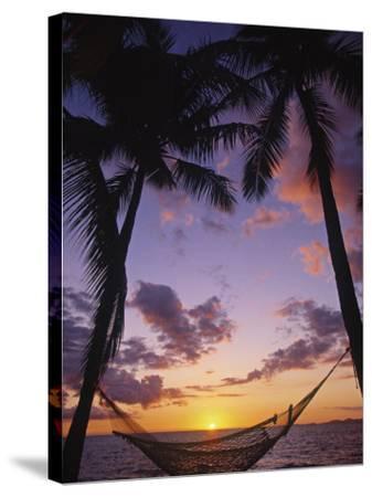 Hammock on Beach, Danarau, Viti Levu, Fiji-Neil Farrin-Stretched Canvas Print