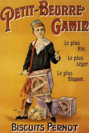 Label of Pernot Biscuits: Petit Beurre Gamin, c.1901-Jack Abeille-Stretched Canvas Print