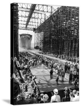 Crowds Watching Launching of New Ocean Liner, America, as in Slides into the Water-Alfred Eisenstaedt-Stretched Canvas Print