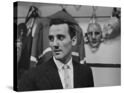 Canadian Goalie Jacques Plante Displays Latest Face Stitches Received in Cause of Rough Hockey Game-George Silk-Stretched Canvas Print