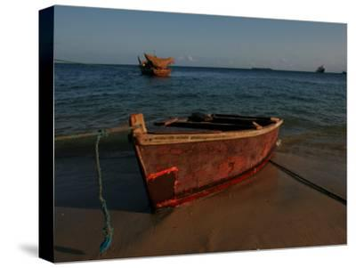 Fishing Boat on the Beach of the Indian Ocean in Zanzibar Island, Tanzania, Africa-Gina Martin-Stretched Canvas Print