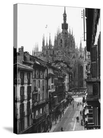 View of the Landscape of Milan with the Cathedral Dominating the Background-Carl Mydans-Stretched Canvas Print