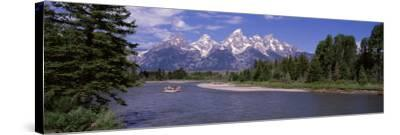 Inflatable Raft in a River, Grand Teton National Park, Wyoming, USA--Stretched Canvas Print
