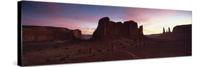 View Towards the Three Sisters at Dusk, Monument Valley Tribal Park, Arizona, USA-Lee Frost-Stretched Canvas Print