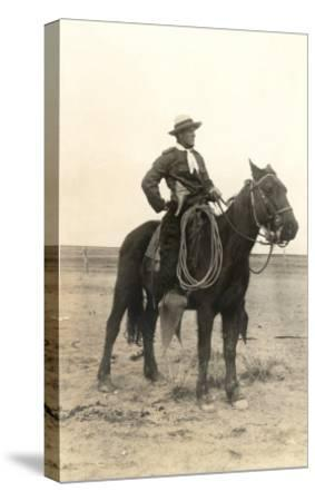 Photo of Cowboy on Horse--Stretched Canvas Print