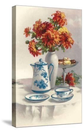Coffee Pot with Chyrsanthemums--Stretched Canvas Print