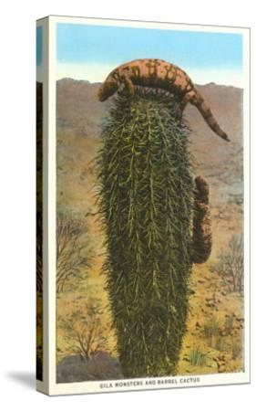 Gila Monsters on Barrel Cactus--Stretched Canvas Print