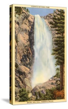 Bridal Veil Falls, Yosemite, California--Stretched Canvas Print