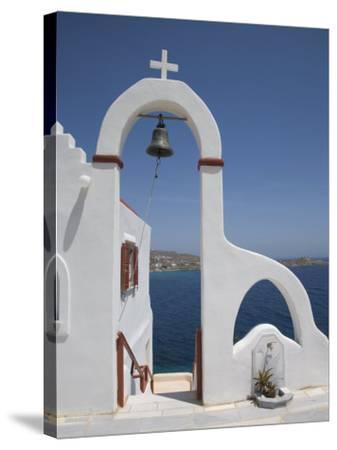 Church Near the Beach of Psarou, Mykonos, Cyclades, Greek Islands, Greece, Europe-Angelo Cavalli-Stretched Canvas Print