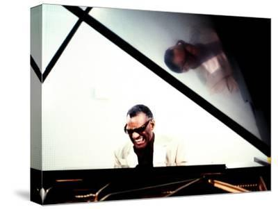 Ray Charles in the Studio at RPM International, Los Angeles--Stretched Canvas Print