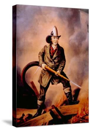 The American Fireman: Facing the Enemy, 1858-Currier & Ives-Stretched Canvas Print