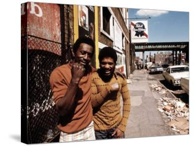 1970s America, Two Young Men on the South Side of Chicago, 1973--Stretched Canvas Print
