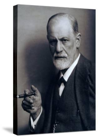Sigmund Freud Smoking Cigar in a Classic Early 1920s Portrait--Stretched Canvas Print