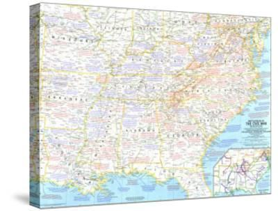 1961 Battlefields of the Civil War Map-National Geographic Maps-Stretched Canvas Print