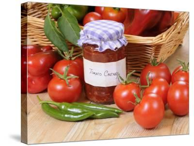 Country Kitchen Scene with Home Made Chutney and Ingredients - Tomatoes and Peppers, UK-Gary Smith-Stretched Canvas Print
