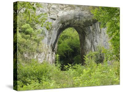Natural Rock Arch Leading to Reynards Cave, Dovedale, Peak District Np, Derbyshire, UK-Gary Smith-Stretched Canvas Print