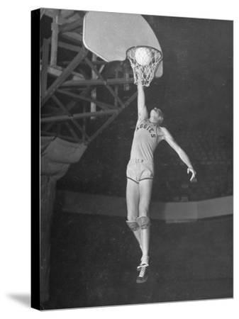 Texas A&M Basketball Player Bob Kurland Reaching to Make a Basket-Myron Davis-Stretched Canvas Print