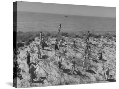 Artists Sketching and Painting Nude Model on Beach--Stretched Canvas Print