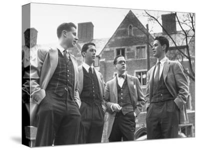 Tartan Vests Worn with Sports Jackets are Favored by These Yale Undergraduates--Stretched Canvas Print