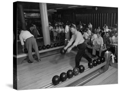 People Bowling at the Mcculloch Motors Recreation Building-J^ R^ Eyerman-Stretched Canvas Print
