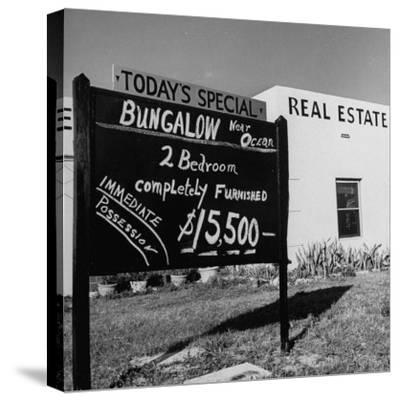 Close-Up of Real Estate Sign-Ed Clark-Stretched Canvas Print