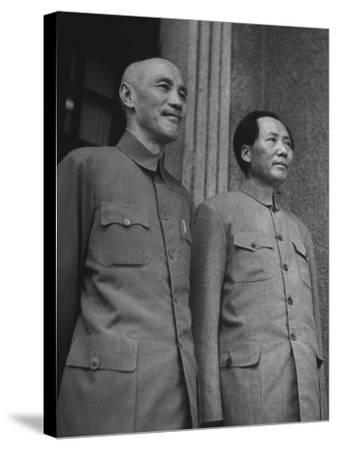Chinese General Chiang Kai Shek Standing Side by Side W. Communist Ldr. Mao Tse Tung--Stretched Canvas Print