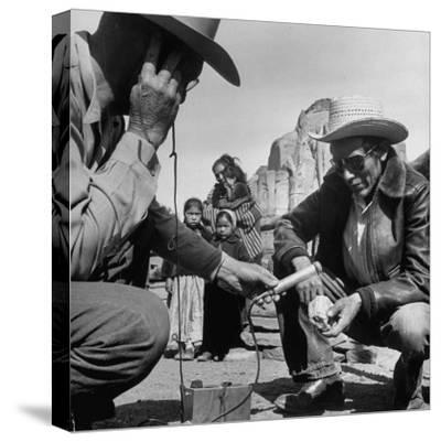 Harry Goulding Testing Ore for Uranium with a Gieger Counter-Loomis Dean-Stretched Canvas Print