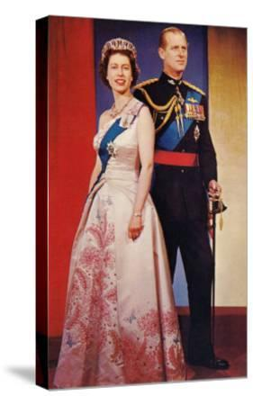 Queen Elizabeth and Prince Phillip--Stretched Canvas Print