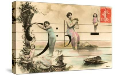 French Ladies and Girl on Musical Staff--Stretched Canvas Print