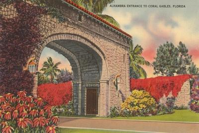 Alhambra Entrance, Coral Gables, Florida--Stretched Canvas Print