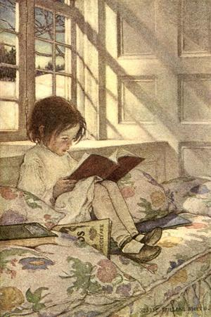 Chlld Reading on Couch, 1905-Jessie Willcox-Smith-Stretched Canvas Print