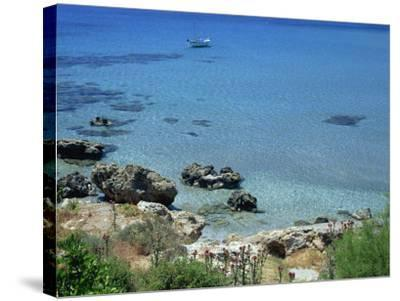 Rocks and Sea, Frangokastello, Crete, Greek Islands, Greece, Europe-Jean Brooks-Stretched Canvas Print
