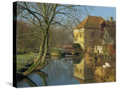 Watermill Reflected in Still Water, Near Montreuil, Crequois Valley, Nord Pas De Calais, France-Michael Busselle-Stretched Canvas Print
