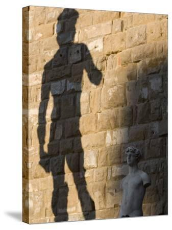 Shadow of Statue of David, Piazza Della Signoria, Florence, Tuscany, Italy, Europe-Martin Child-Stretched Canvas Print