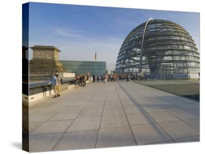 Tourists on the Roof Terrace of the Famous Reichstag Parliament Building, Berlin, Germany-Neale Clarke-Stretched Canvas Print