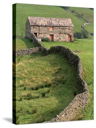 Traditional Barn in Upper Swaledale, Yorkshire Dales National Park, Yorkshire, England, UK-Patrick Dieudonne-Stretched Canvas Print