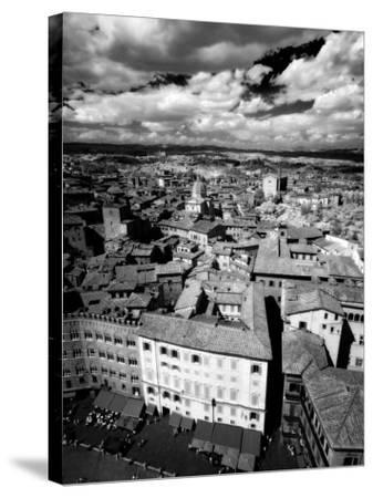 Infra Red Image of Siena across Piazza Del Campo from Tower Del Mangia, Siena, Tuscany, Italy-Lee Frost-Stretched Canvas Print