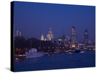 St. Paul's Cathedral and the City of London Skyline at Night, London, England, United Kingdom-Amanda Hall-Stretched Canvas Print