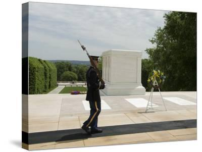 Guard at the Tomb of the Unknown Soldier, Arlington National Cemetery, Arlington, Virginia, USA-Robert Harding-Stretched Canvas Print