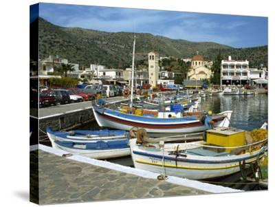 Fishing Boats Moored in the Harbour at Elounda, Near Agios Nikolas, Crete, Greece, Europe-Harding Robert-Stretched Canvas Print