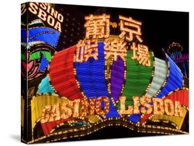 Lisboa Casino Neon Illuminated at Night, Macau, China-Gavin Hellier-Stretched Canvas Print