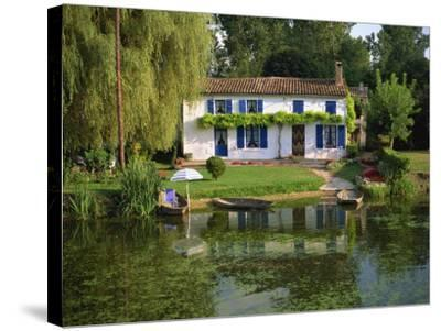 House with Pond in Garden, Coulon, Marais Poitevin, Poitou Charentes, France, Europe-Miller John-Stretched Canvas Print