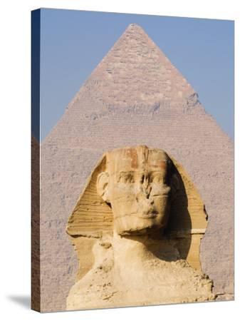 Sphynx and the Pyramid of Khafre, Giza, Near Cairo, Egypt-Schlenker Jochen-Stretched Canvas Print